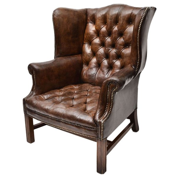 Кресло Vintage Leather chesterfield High Back Wing Chair   - фото 1