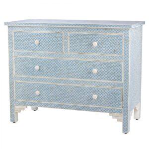 Комод голубой отделка кость Moroccan Design BONE inlay Dresser 4 DRAWER