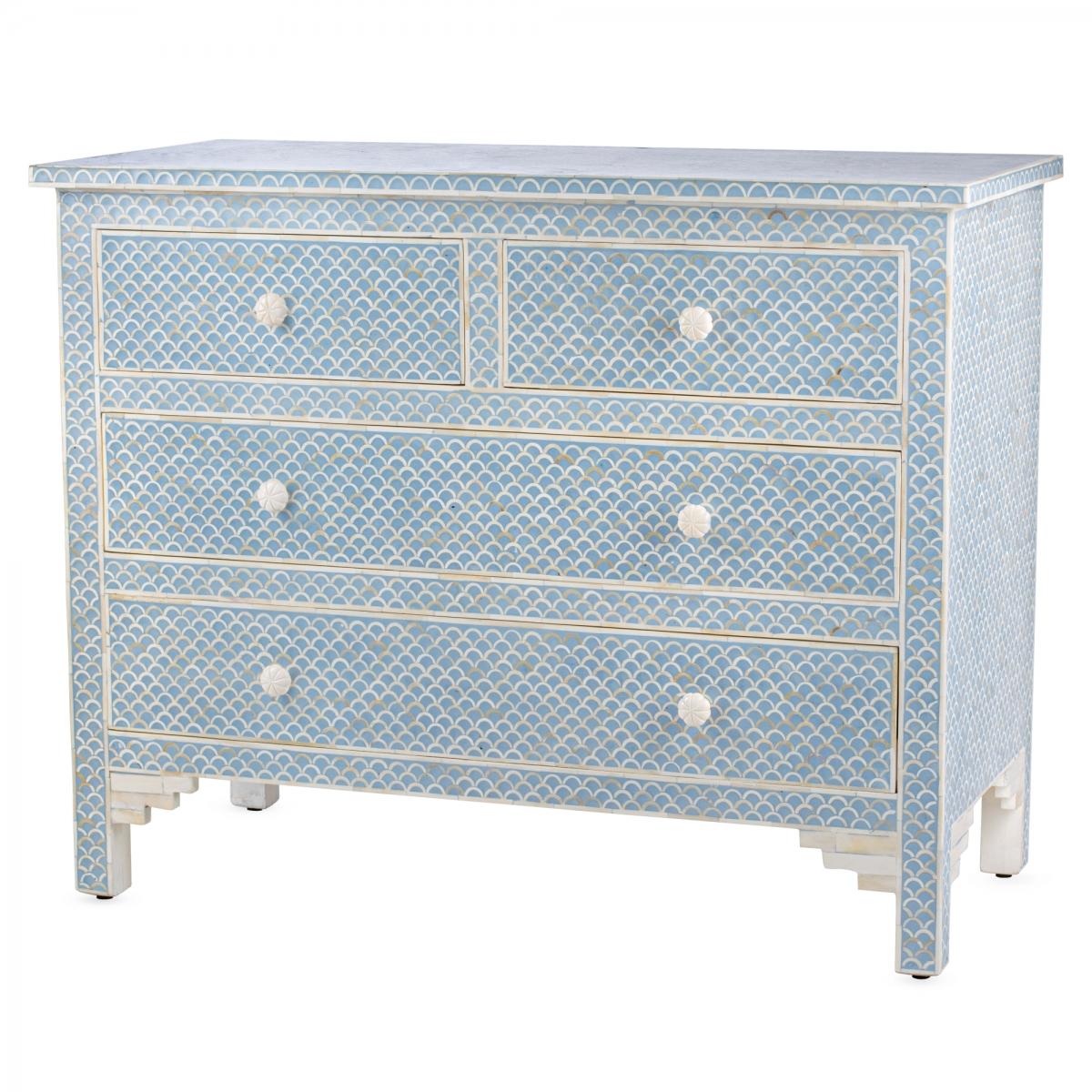 Комод голубой отделка кость Moroccan Design BONE inlay Dresser 4 DRAWER  - фото 1