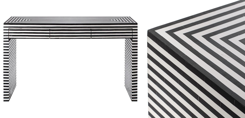 Стол Black&white Indian Bone Inlay table  - фото 2