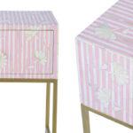 Тумбочка Pink Flower Indian Bone Inlay nightstand  - фото 2