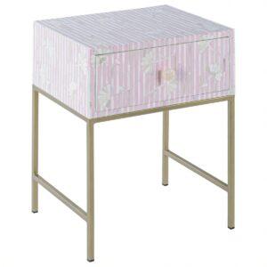 Тумбочка Pink Flower Indian Bone Inlay nightstand