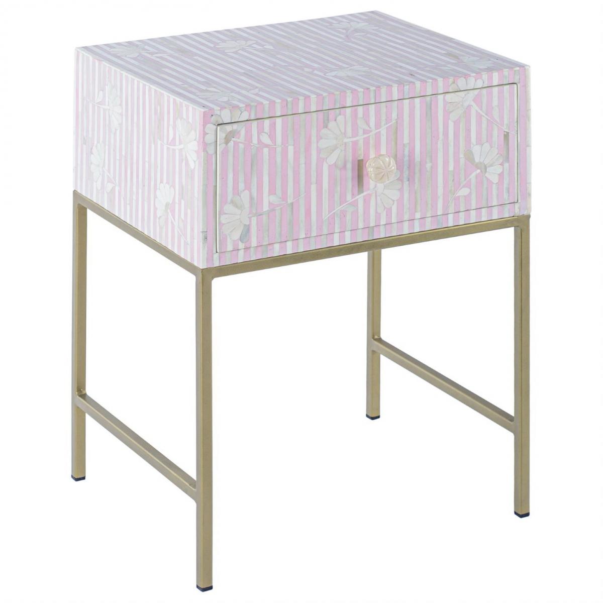 Тумбочка Pink Flower Indian Bone Inlay nightstand  - фото 1