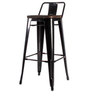 Барный стул Tolix Bar Stool 75 Backed Wood Black  designed by Xavier Pauchard  in 1934