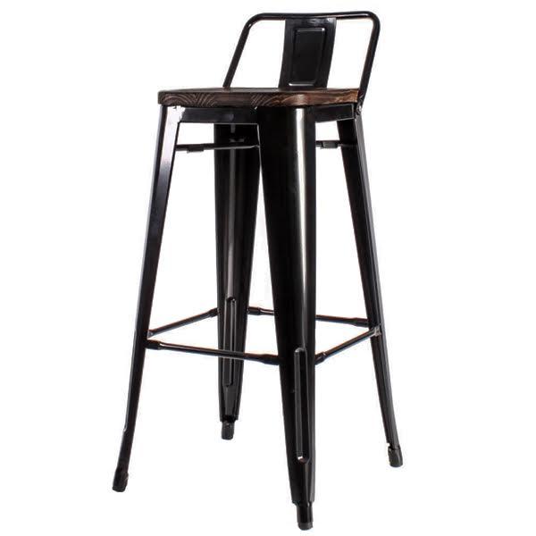 Барный стул Tolix Bar Stool 75 Backed Wood Black  designed by Xavier Pauchard  in 1934 - фото 1