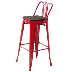 Барный стул Tolix Bar Stool 75 Backed Wood Red  designed by Xavier Pauchard  in 1934