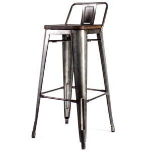 Барный стул Tolix Bar Stool 75 Backed Wood Silver  designed by Xavier Pauchard  in 1934