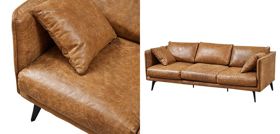 Диван Caramel Leather Triple Sofa  - фото 2