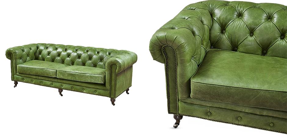 Диван Chesterfield leather Sofa green  - фото 2