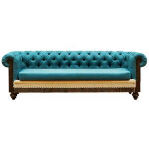 Диван Deconstructed Chesterfield Sofa triple turquoise Linen