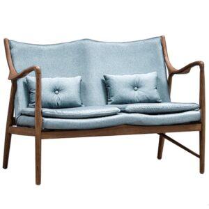 Диван Makeshift Loveseat Sofa light blue linen