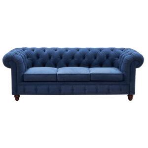 Диван Mini Kensington Sofa triple blue velor