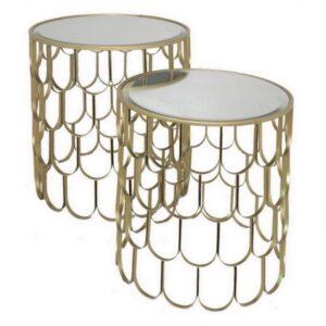 Набор из 2-х дизайнерских столов c зеркальной поверхностью Fish Scales