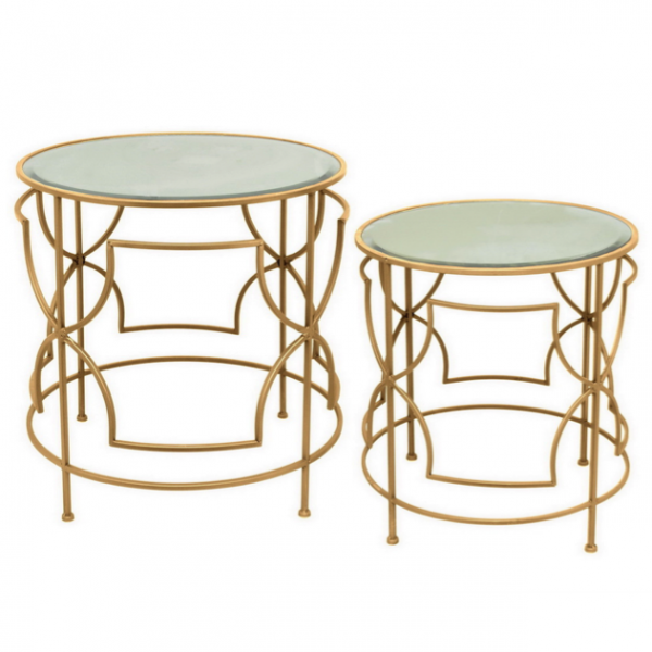 Набор из 2-х дизайнерских столов c зеркальной поверхностью Gold Bar   - фото 1