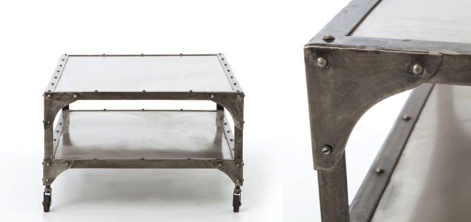 Кофейный стол Industrial Steampunk Nickel Coffee Table   - фото 2