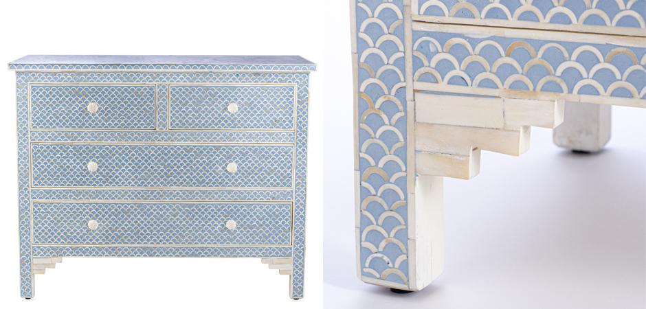 Комод голубой отделка кость Moroccan Design BONE inlay Dresser 4 DRAWER  - фото 2