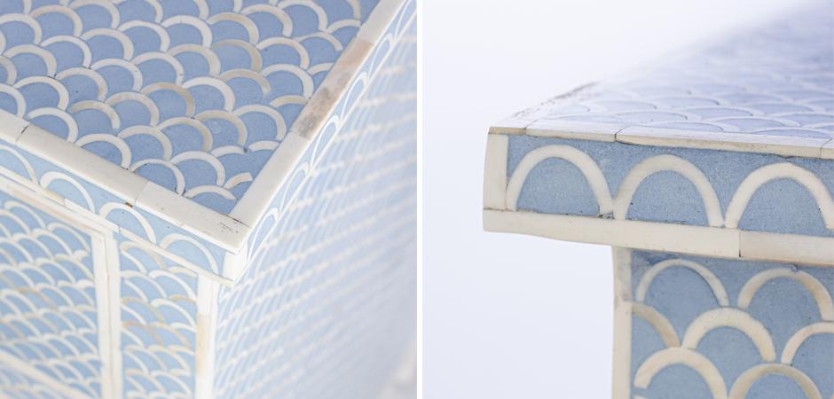 Комод голубой отделка кость Moroccan Design BONE inlay Dresser 4 DRAWER  - фото 3