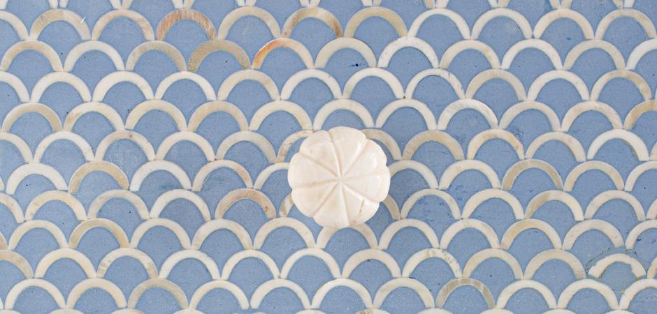 Комод голубой отделка кость Moroccan Design BONE inlay Dresser 4 DRAWER  - фото 4