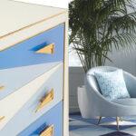 Комод Jonathan Adler Blue-Ivory Harlequin 3 Drawer Chest  designed by Jonathan Adler  - фото 2