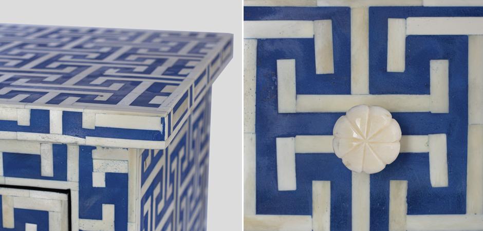 Комод синий орнамент кость Insignia Bone Inlay 3 Drawer Chest  - фото 3