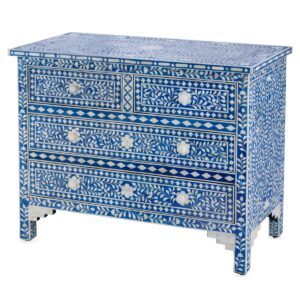 Комод Синий узор отделка кость Bone Inlay Dresser Blue Floral Design Chest of Drawers