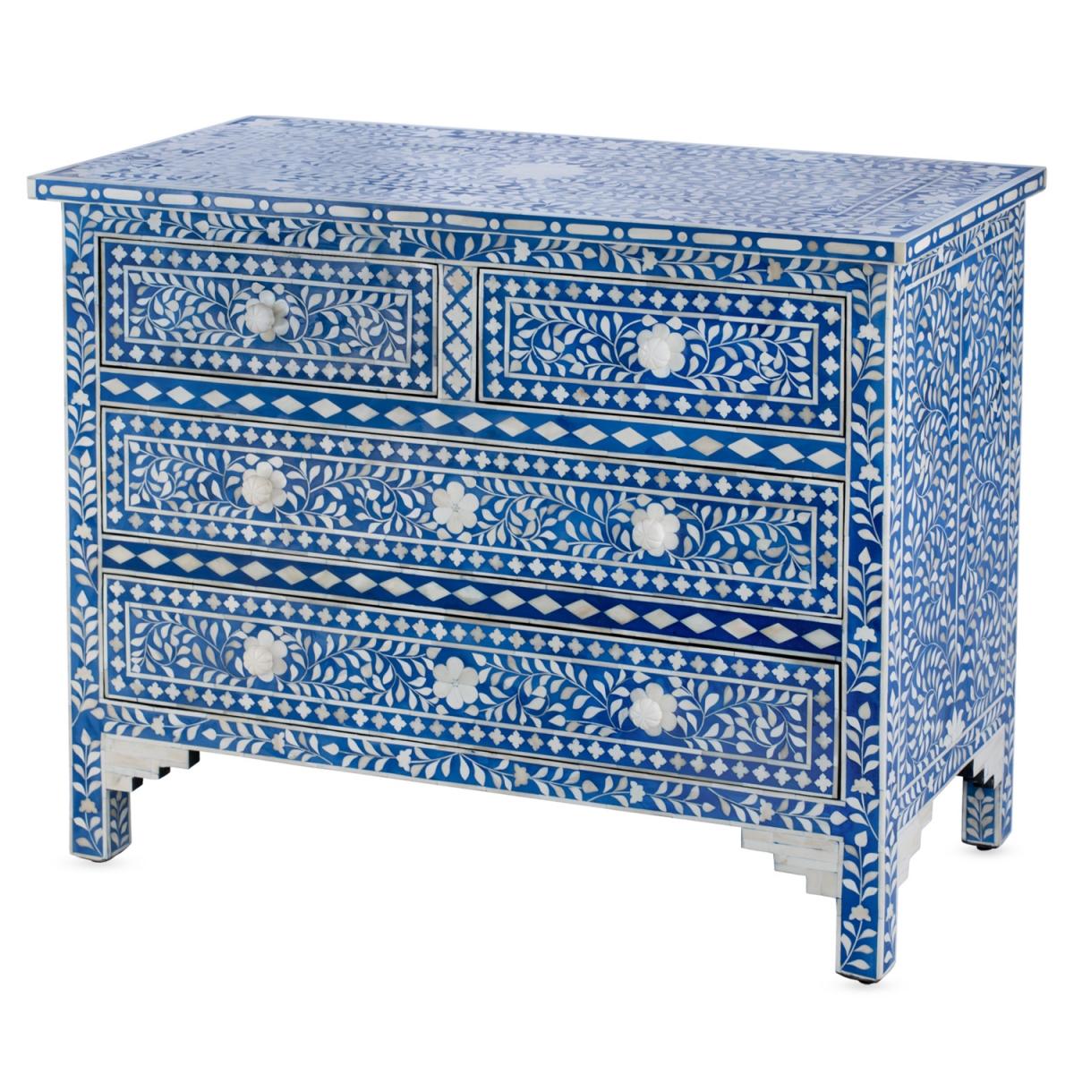 Комод Синий узор отделка кость Bone Inlay Dresser Blue Floral Design Chest of Drawers  - фото 1