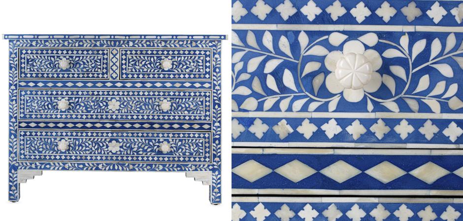 Комод Синий узор отделка кость Bone Inlay Dresser Blue Floral Design Chest of Drawers  - фото 2