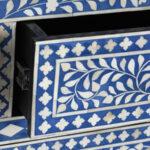 Комод Синий узор отделка кость Bone Inlay Dresser Blue Floral Design Chest of Drawers  - фото 3