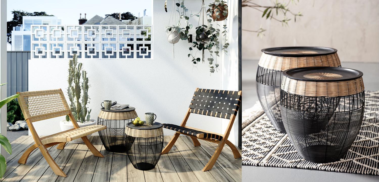 Комплект приставных столов African Wicker Drums  - фото 3
