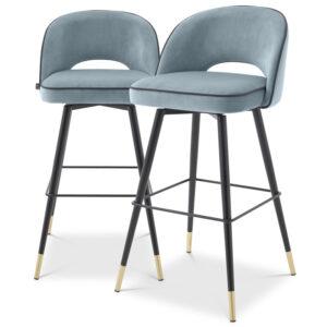 Комплект барных стульев Eichholtz Bar Stool Cliff set of 2 blue