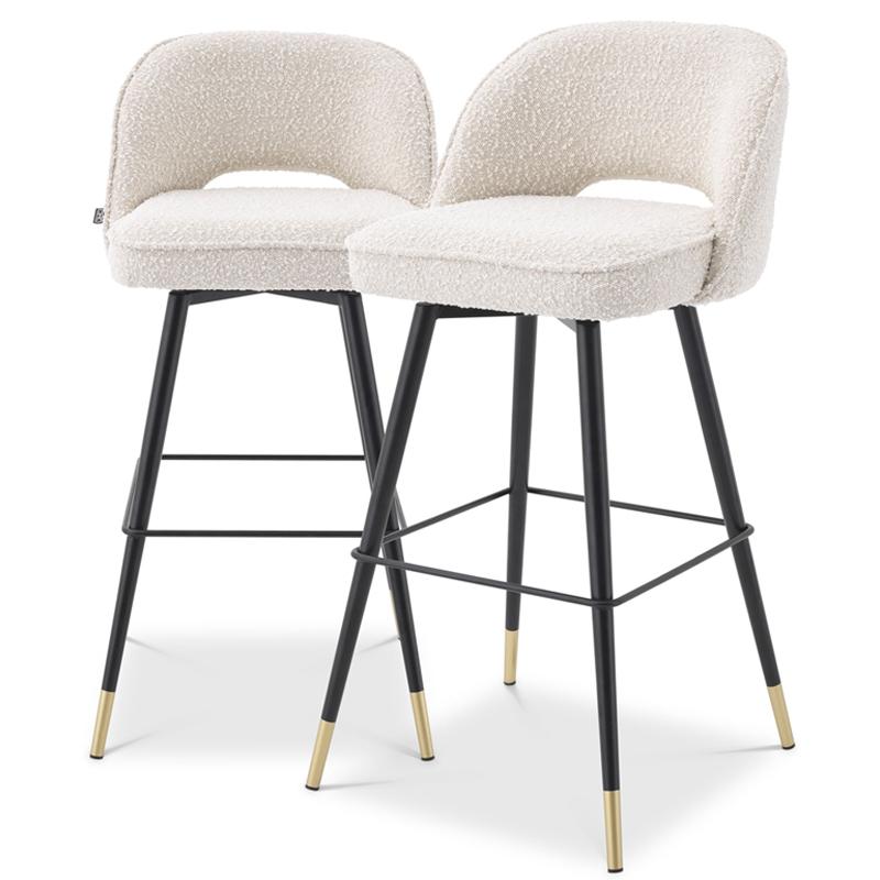 Комплект барных стульев Eichholtz Bar Stool Cliff set of 2 Boucle cream  - фото 1
