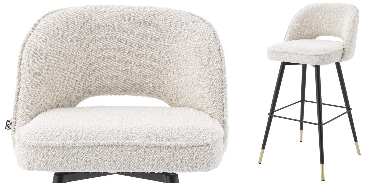 Комплект барных стульев Eichholtz Bar Stool Cliff set of 2 Boucle cream  - фото 2