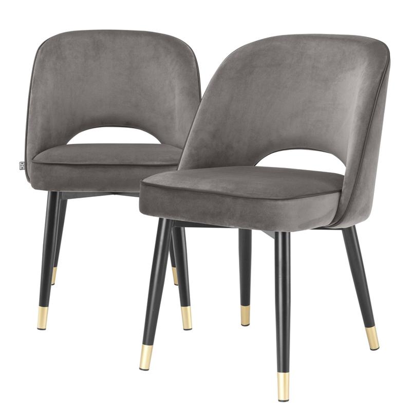 Комплект из двух стульев Eichholtz Dining Chair Cliff set of 2 grey  - фото 1