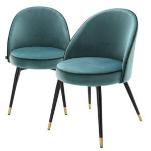 Комплект из двух стульев Eichholtz Dining Chair Cooper set of 2 turquoise