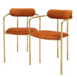 Комплект из двух стульев Eichholtz Dining Chair Singer set of 2 orange