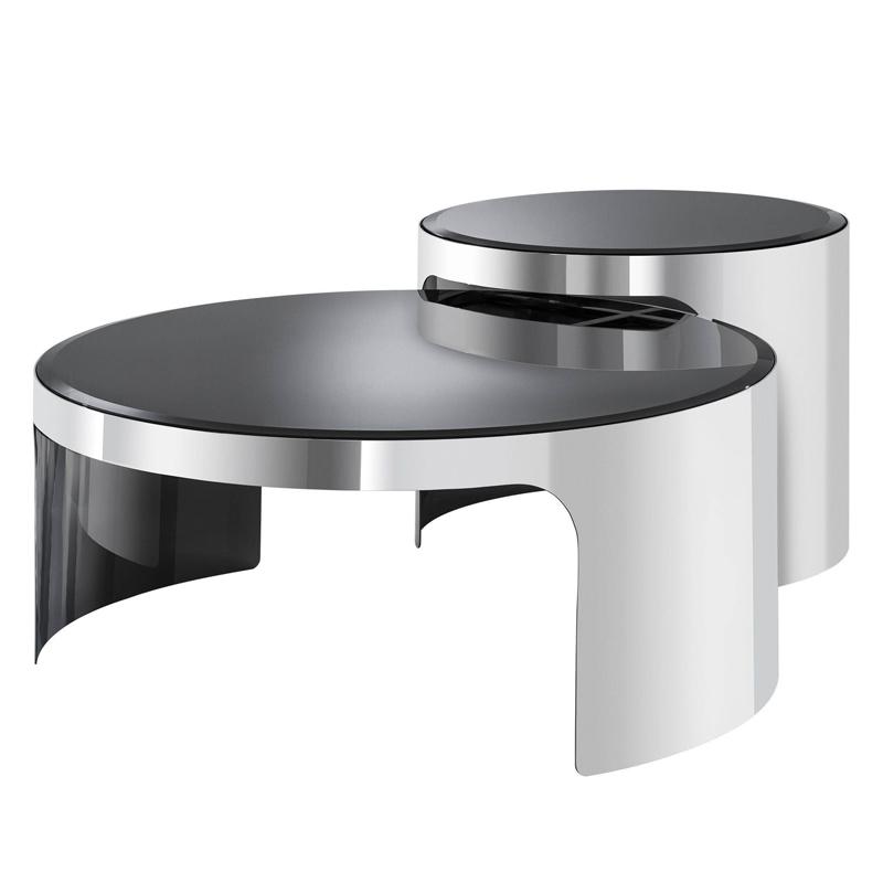Комплект кофейных столов Eichholtz Coffee Table Piemonte Set of 2 stainless steel  - фото 1