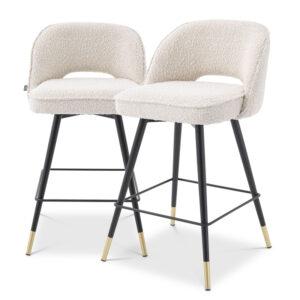Комплект полубарных стульев Eichholtz Counter Stool Cliff set of 2 Boucle cream
