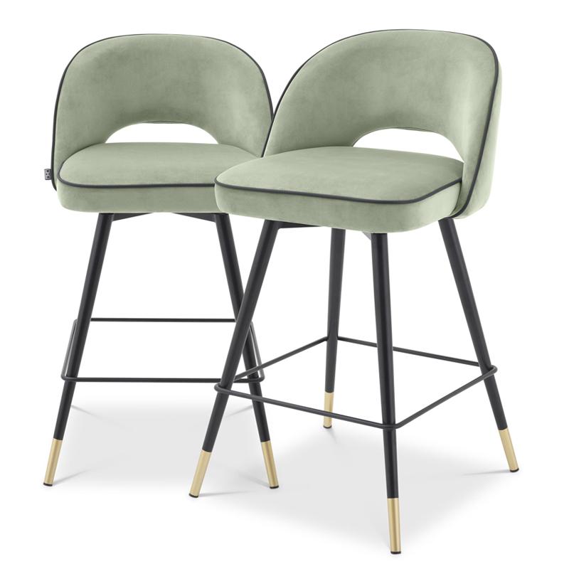 Комплект полубарных стульев Eichholtz Counter Stool Cliff set of 2 pistache green  - фото 1