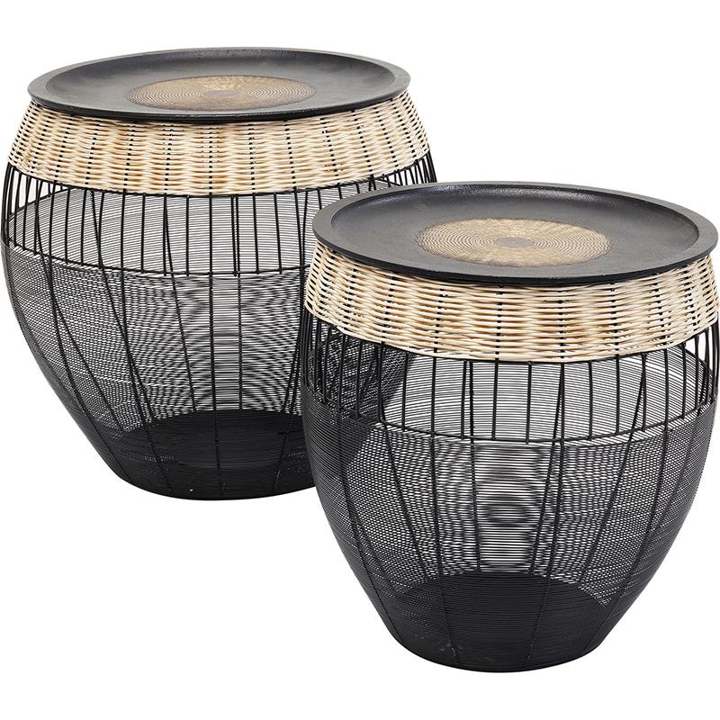 Комплект приставных столов African Wicker Drums  - фото 1