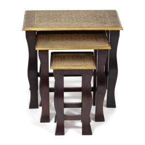 Комплект приставных столов Antique Indian Brass Mango Wood Tables