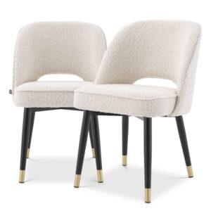 Комплект из двух стульев Eichholtz Dining Chair Cliff set of 2 Boucle cream