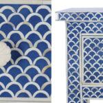 Консоль голубая отделка кость Bone Inlay Blue Fish Scale Console 3 DRAWER  - фото 3