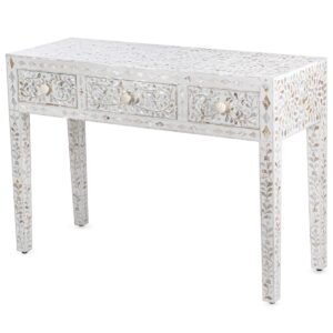 Консоль с ящиками белая отделка кость BONE INLAY White Pearl CONSOL TABLE 3 DRAWER