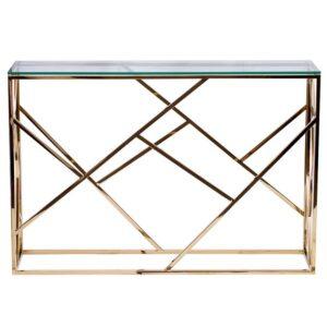 Консоль Serene Furnishing Gold Clear Glass Top Console