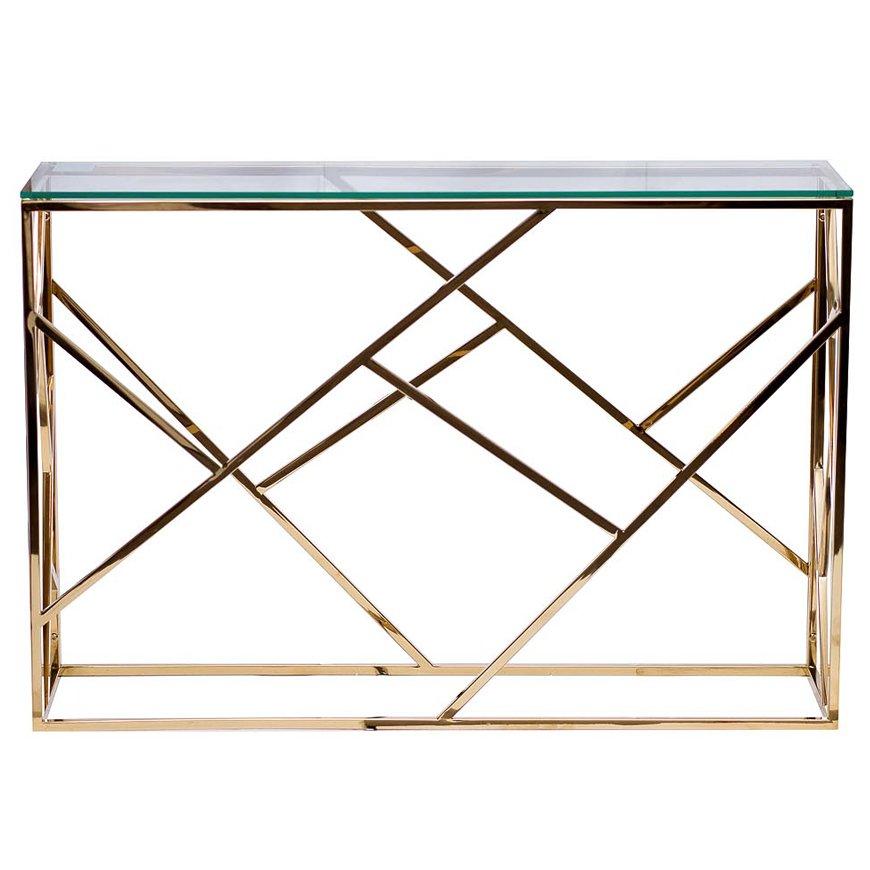 Консоль Serene Furnishing Gold Clear Glass Top Console   - фото 1