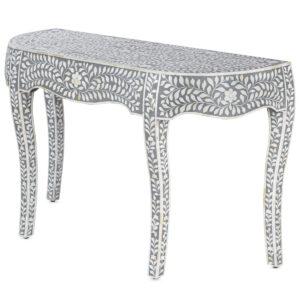 Консоль серый орнамент отделка кость BONE INLAY CONSOL TABLE