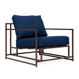 Кресло Kenn X Miller armchair Indigo and copper denim   designed by Stephen Kenn and Simon Miller