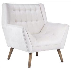 Кресло Danish Modern Armchair Tufted Accent белый велюр
