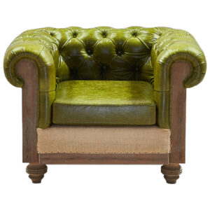 Кресло Deconstructed Chesterfield Armchair green leather