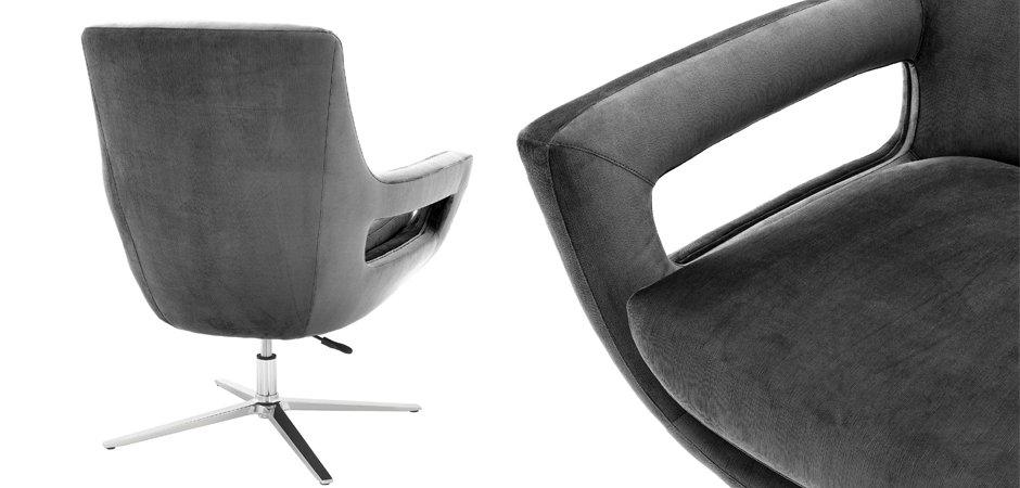 Кресло Eichholtz Swivel Chair Flavio Grey  - фото 2